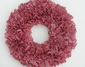 Gingham Wreath - Valentine's Wreath - Red and White Wreath - Country Wreath - Door Wreath - Indoor Wreath - Rag Wreath - Winter Wreath