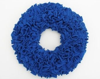 Blue Wreath --- Fleece Wreath --- Door Wreath --- Indoor Wreath ---  Royal Blue Wreath --- Spring Wreath --- Rag Wreath --- Summer Wreath