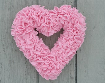 Valentine's Wreath - Pink Heart Wreath - Baby Girl Wreath - Fleece Wreath - Pink Wedding Decor - Spring Wreath - Door Wreath - Rag Wreath