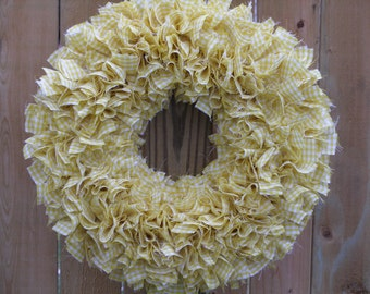 Gingham Wreath - Spring Wreath - Yellow and White Wreath - Country Wreath - Door Wreath - Indoor Wreath - Rag Wreath - Cottage Wreath