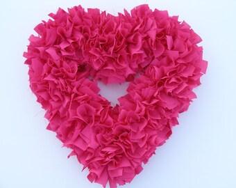 Pink Heart Wreath - Valentine's Wreath - Shabby Wreath - Cottage Wreath - Hot Pink Wedding Decor - Wedding Wreath - Door Wreath - Rag Wreath