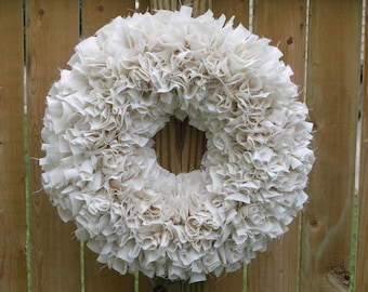 Ivory Wreath - Rag Wreath - Muslin Wreath - Door Wreath - Indoor Wreath - Off White Wreath - Shabby Wreath - Cottage Wreath - Wedding Wreath