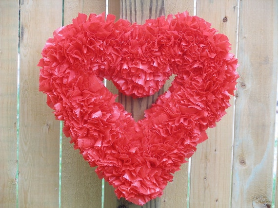 """FREE SHIPPING --- Ready to Ship --- 15"""" Indoor/Outdoor Heart-Shaped Wreath --- Cherry Red"""