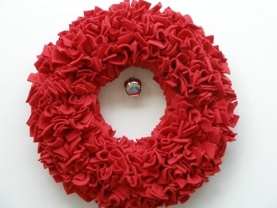 Christmas Wreath --- Red Wreath --- Fleece Wreath --- Door Wreath --- Indoor Wreath --- Holiday Wreath --- Rag Wreath --- Winter Wreath