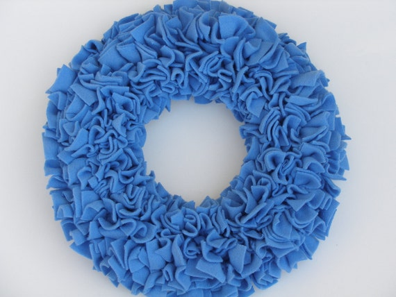 Blue Wreath --- Fleece Wreath --- Door Wreath --- Indoor Wreath --- Periwinkle Wreath --- Spring Wreath --- Rag Wreath --- Summer Wreath