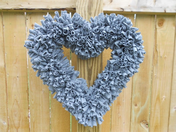 Gray Wreath - Rag Wreath - Heart Wreath - Door Wreath - Indoor Wreath - Grey Wreath - Neutral Wreath - Flokati Wreath - Gray Flokati