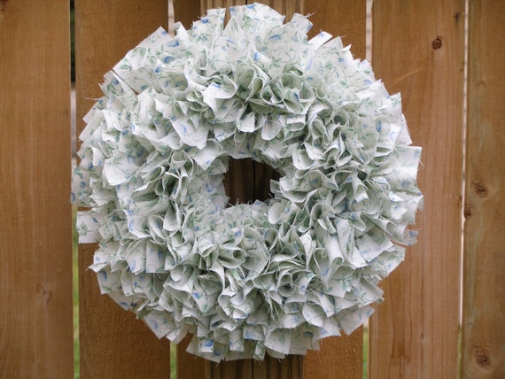 "Mid-Winter Clearance Sale --- 12"" Handmade Rag Wreath --- Laura Ashley Brambleberry"