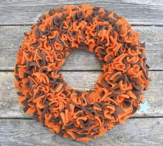 Fall Wreath - Orange and Brown Wreath - Fleece Wreath - Door Wreath - Indoor Wreath - Rag Wreath - Autumn Wreath - Halloween Wreath