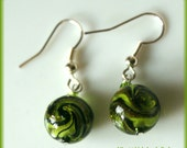 Green round lampwork glass spring summer earrings