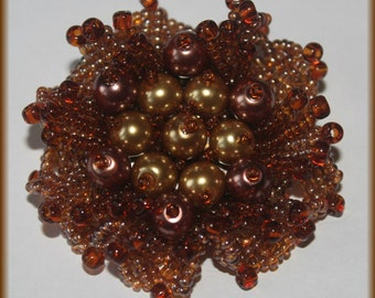 Brown shaded brooch very elegant flower accessory