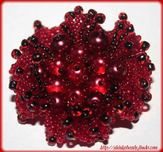 Bright red floral brooch made of Czech seed beads and acryl pearls CRANBERRY  SALE 20%
