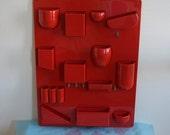 Vintage red Dorothee Maurer-Becker Design M utensilo wall organizer