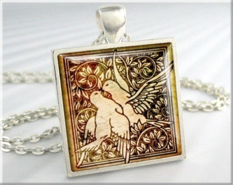 Love Doves Art Pendant, Love Birds Necklace Charm, Wedding Art Jewelry, White Doves Jewelry, Square Silver (062SS)