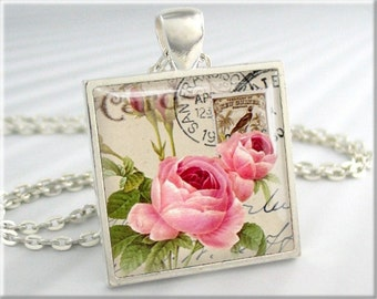 Postcard Pendant Art Necklace Resin Pendant Rose Flower Art Jewelry (030SS)