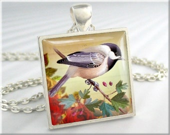 Chickadee Bird Pendant, Song Bird Jewelry, Chickadee Art Charm, Gift For Bird Lover, Square Silver (087SS)