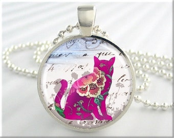 Purple Cat Pendant, Kitty Art Pendant, Resin Picture Cat Collage, Cat Art Charm, Round Silver, Gift Under 20, Cat Lover Gift (106RS)