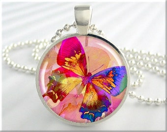 Rainbow Butterfly Necklace Charm Colorful Multicolored Butterfly Resin Pendant Jewelry (210RS)