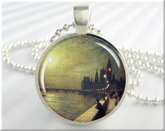 Westminster Palace Necklace Pendant Charm John Grimshaw Art Resin Jewelry London England (225RS)