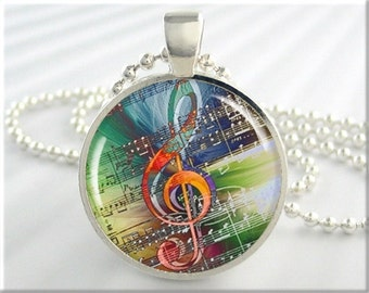Treble Clef Necklace, Musical Art Pendant, Resin Charm, Music Note Staff Jewelry, Gift For Musician, Gift Under 20, Round Silver (099RS)