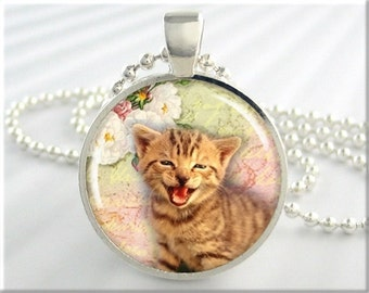 Little Kitten Art Pendant, Kitten Jewelry, Cat Collage Charm, Kitty Necklace, Round Silver, Gift For Cat Lover (121RS)