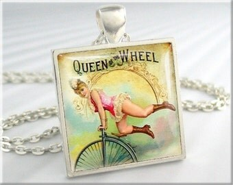 Unicycle Necklace Pendant Vintage Bicycle Ad Jewelry Queen Wheel Bike Necklace (126SS)