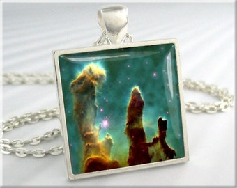 Pillars Of Creation Pendant, Space Nebula Pendant, Hubble Picture Necklace, Resin Jewelry, Square Silver, Space Gift (255SS)