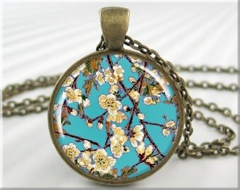 Cherry Blossom Art Pendant, Turquoise Necklace, Resin Flower Jewelry, Round Bronze, Turquoise Jewelry, Gift Under 20 (265RB)
