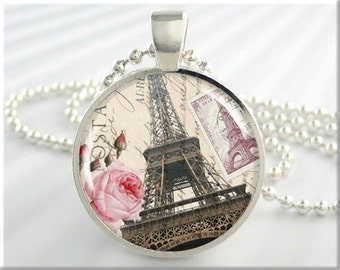 Eiffel Tower Pendant Paris Art Jewelry France Travel Vacation Necklace Resin Charm (010RS)