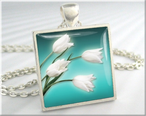 Tulip Art Necklace, Resin Charm, White Tulip Pendant, Turquoise Jewelry, Square Silver, Picture Pendant, Gift Under 20 (097SS)