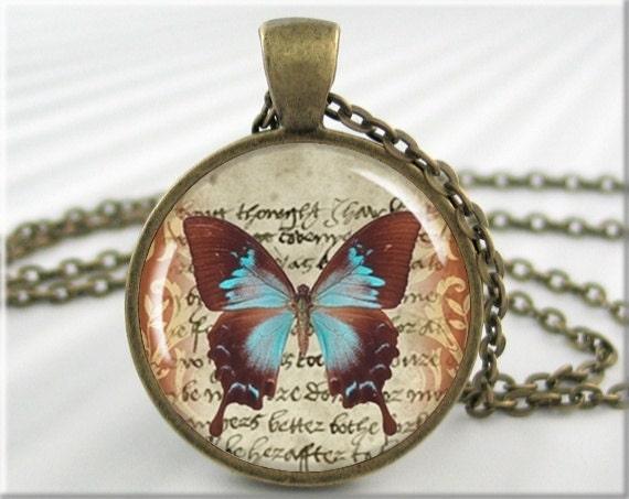 Blue Butterfly Jewelry: Blue Butterfly Pendant Necklace Blue Brown Butterfly Jewelry