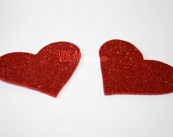 Rave wear red glitter heart pasties nipple covers stick on burning man festival wear