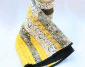 Yellow Grey and Black Quilt Throw