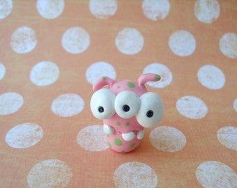Pink with Green Dots Three-Eyed Monster Alien Polymer Clay Ooak Miniature Figurine