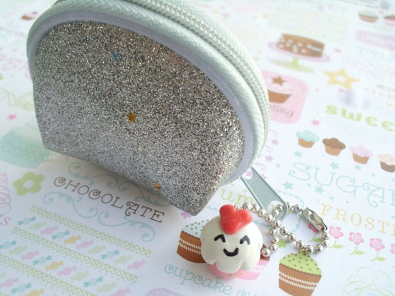 Kawaii Silver Glitter Coin Purse with White and Pink Cupcake Charm Wallet Purse