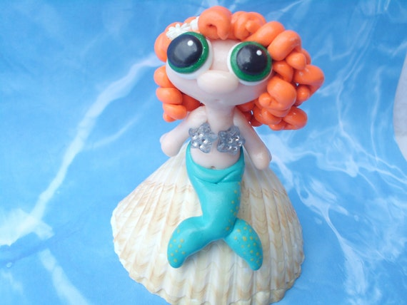 Red Headed Mermaid with Green Eyes on Sea Shell Polymer Clay Art Doll Fantasy Ooak