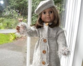 "Dressy winter coat and hat for 18"" or American girl doll in gray with fun trim"