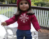 Hand knitted burgundy sweater for American girl doll with hat to match
