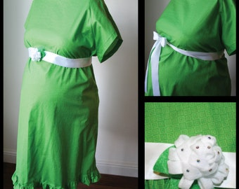 Maternity Hospital Gown - Green Geometric Print/ Matching Ruffle. Removable Felt Flower Detail