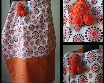 Nursing Cover- Orange, and Pink Circle Bursts- Removable Felt Flower Broach with Rhinestones