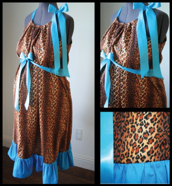 Maternity Hospital Gown - Cheetah Print, Turquoise Ruffle