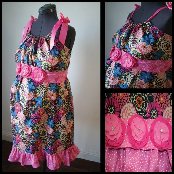 Maternity Hospital Gown -Blue Background with Colorful Flowers, Pink Polka Dot Trim, Rhinestoned Flower Sash