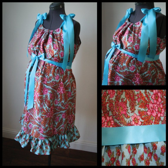 Maternity Hospital Gown -Blue with Pink Flowers, Matching Ruffle