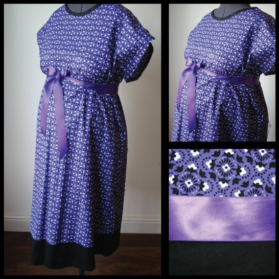 Maternity Hospital Delivery Gown -Purple/ Black Geometric Print. Black Band (labor and delivery hospital gown)