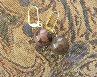 Picture Jasper Bead Earrings