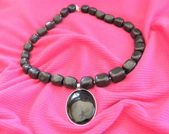 Black Agate Necklace with Black Onyx Focal Bead