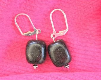 Black Agate Bead Earrings