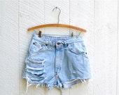 RESERVED FOR JESSICA Vintage High Waisted Denim Ripped Shorts sz 29