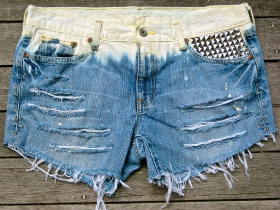 Vintage Denim Bleached Studded Destroyed Dip-Dyed Shorts