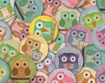 Digital OWL 1 inch circles texture-instant download