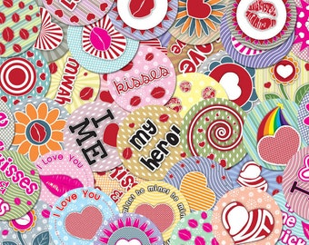 Digital LOVE circles-1.313 inch, for scrapbooking, magnets, pendants, mirrors, bottle caps
